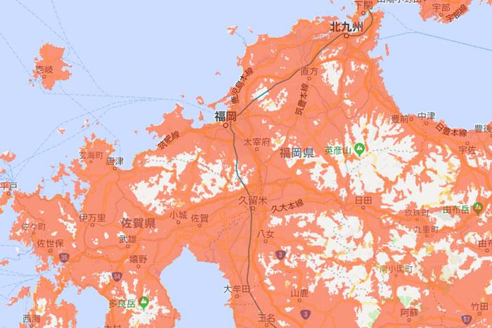 福岡での電波状況