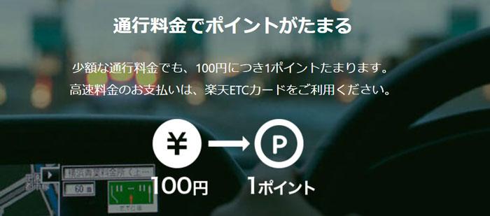 ETCで100円で1ポイント貯まる